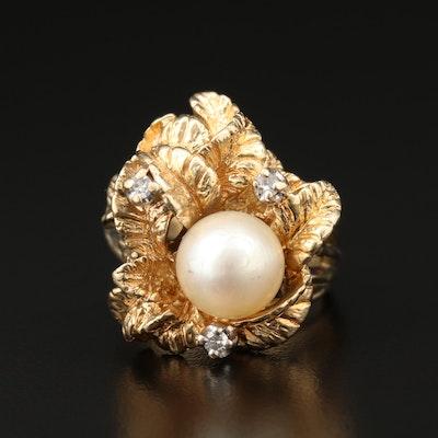 14K Yellow Gold Pearl and Diamond Foliate Ring