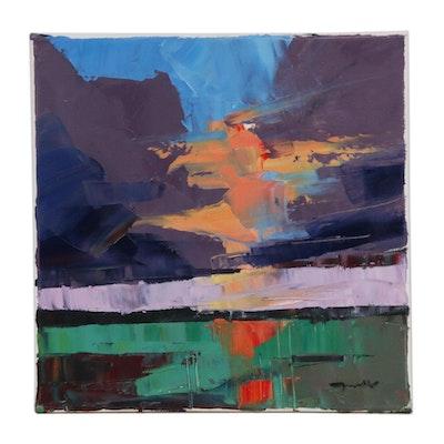 """Jose Trujillo Landscape Oil Painting """"The Setting Sun"""""""