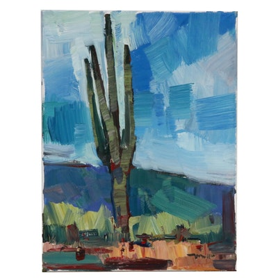 "Jose Trujillo Landscape Oil Painting ""Saguaro"""