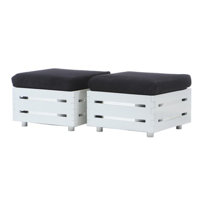 Pair of White Ottomans, Contemporary
