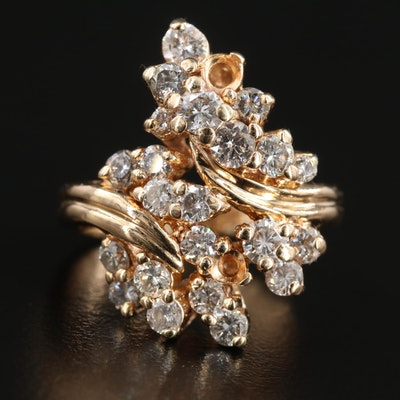 14K Yellow Gold 1.32 CTW Diamond Bypass Ring