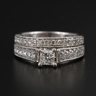 14K White Gold Diamond Ring Set with Milgrain Detail