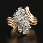 14K Yellow Gold 1.00 CTW Diamond Bypass Ring