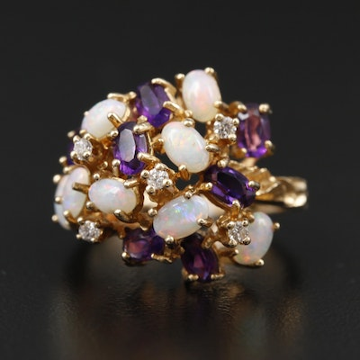 14K Yellow Gold Amethyst, Opal and Diamond Cluster Ring