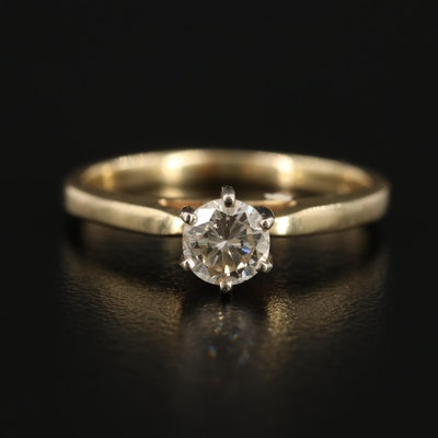 14K Yellow Gold 0.39 CT Diamond Solitaire Ring