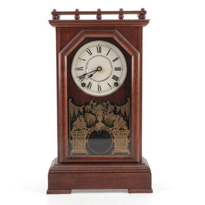Seth Thomas Walnut and Gilt-Stenciled Mantel Clock, Late 19th Century