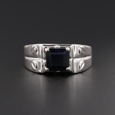 18K White Gold Blue Sapphire Ring