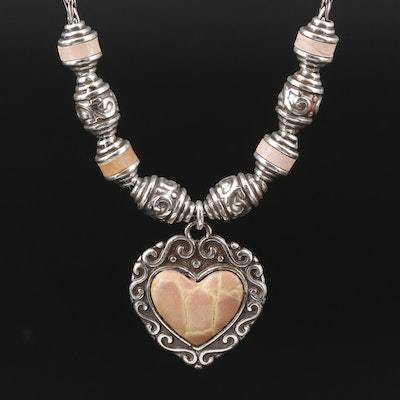 Brighton Leather Reversible Heart Pendant Necklace