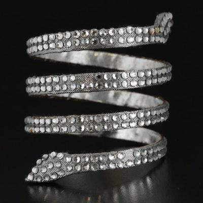 Renè Caovilla Glass Crystal Snake Bracelet with Susan Lucci Signed Box