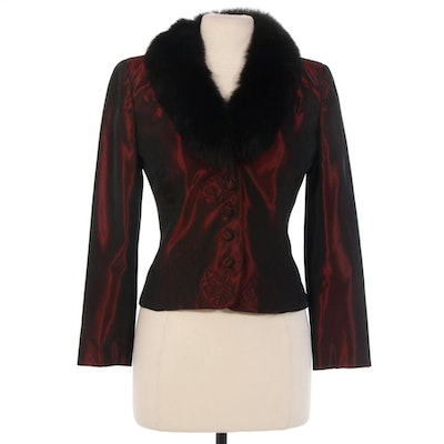 Kay Unger New York Maroon Satin and Fox Fur Jacket