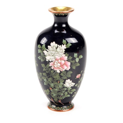 Japanese Cloisonné Vase with Chrysanthemum Motif