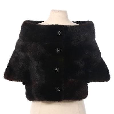 Black Mink Fur Capelet, Vintage