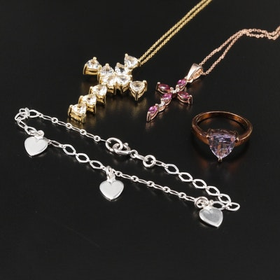 Sterling Cross Necklaces, Heart Station Bracelet and Amethyst Ring