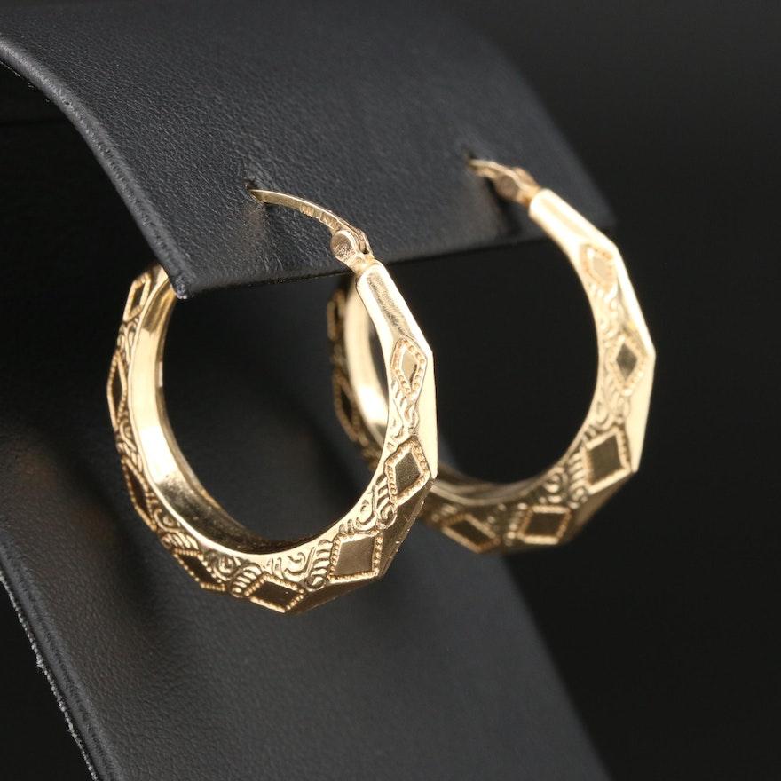 14K Yellow Gold Engraved Hoop Earrings