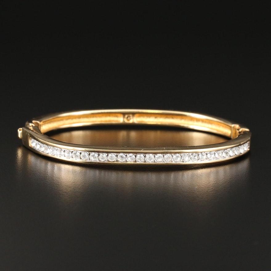 Swarovski Glass Crystal Hinged Bangle Bracelet with Pouch
