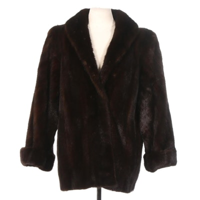 Mahogany Mink Fur Coat with Turn Back Cuffs