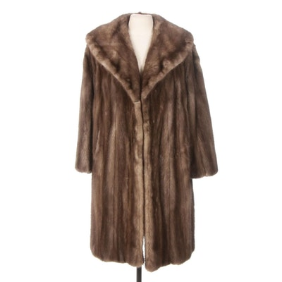 Demi Buff Mink Fur Coat with Shawl Collar, Mid-20th Century