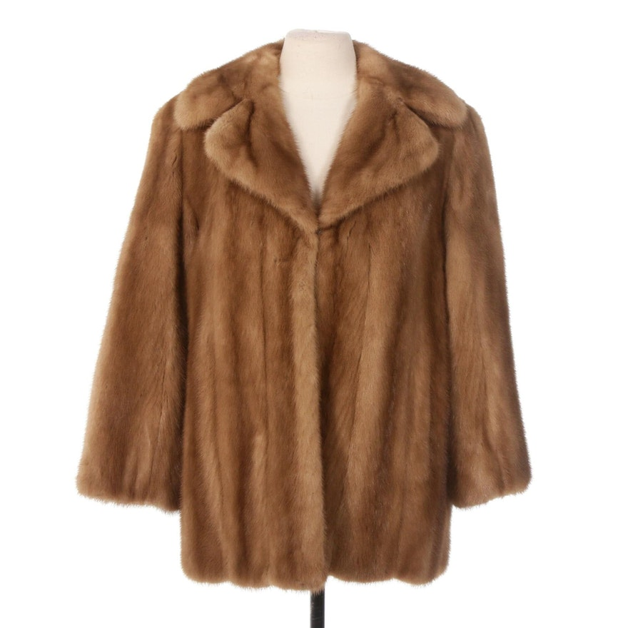 Pastel Mink Fur Coat with Notched Collar from Frederick & Nelson, Vintage