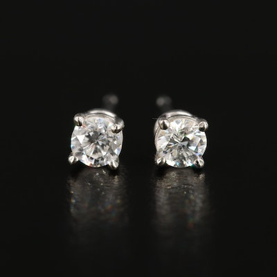 14K White Gold, 0.28 CTW Diamond Stud Earrings