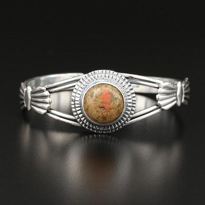 Sterling Silver Unakite Cuff Bracelet