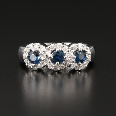 14K White Gold Sapphire and Diamond Triple Halo Band