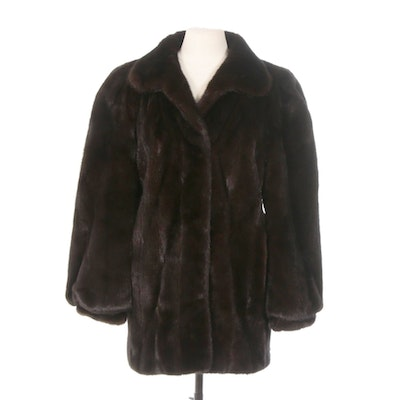Black Diamond Mink Fur Coat with Banded Cuffs