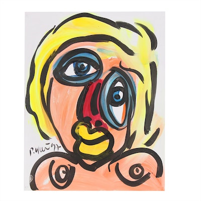 Peter Keil Acrylic Painting of Abstract Figure