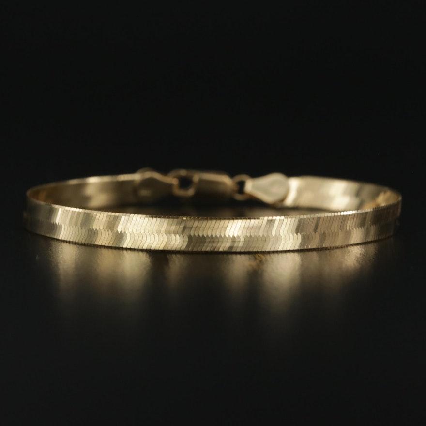 14K Yellow Gold Herringbone Link Bracelet