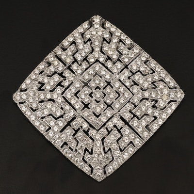 Glass Crystal Openwork Square Brooch with Box