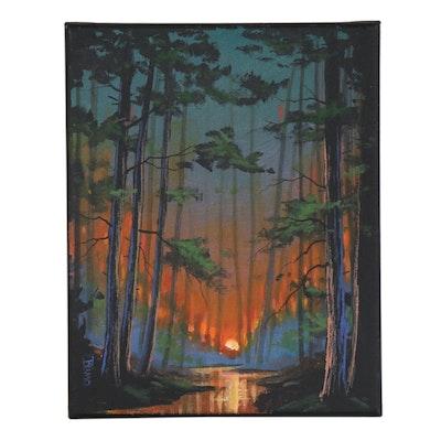 "Douglas ""Bumo"" Johnpeer Oil Painting ""Morning Woods"""
