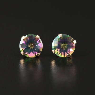 14K Yellow Gold Mystic Topaz Solitaire Stud Earrings