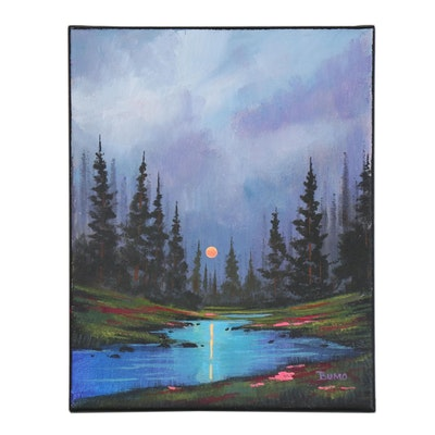 """Douglas """"Bumo"""" Johnpeer Oil Painting """"Pine Flowers"""""""