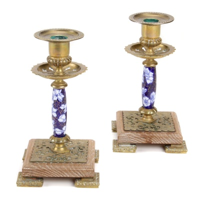 Brass and Cobalt Porcelain Candlesticks, Vintage