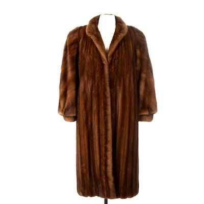 Chestnut Mink Fur Full-Length Coat with Banded Cuffs