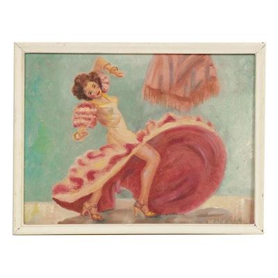 Ballroom Dancer Oil Painting, Mid-20th Century