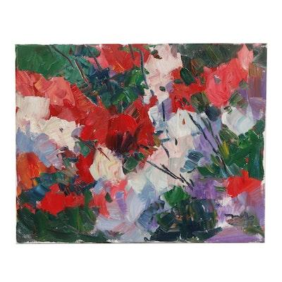 """Jose Trujillo Oil Painting """"The Rose Bush"""""""