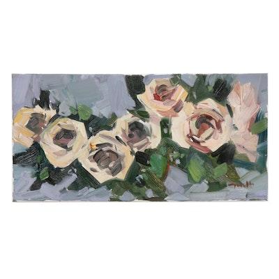 "Jose Trujillo Oil Painting ""White Rose Arrangement"""