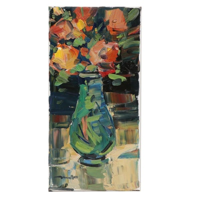 "Jose Trujillo Floral Still Life Oil Painting ""Orange Yellow Bouquet"""