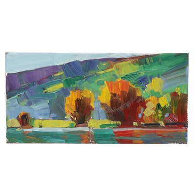 "Jose Trujillo Landscape Oil Painting ""The Edge of the River"""