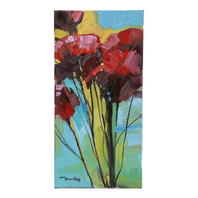 "Jose Trujillo Oil Painting ""Tulips Blooming"""