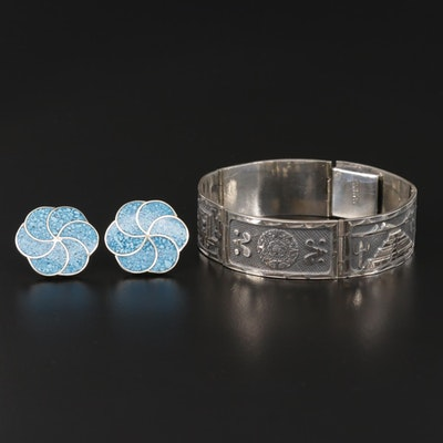Mexican Sterling Silver Chip Turquoise Panel Bracelet and Button Earrings