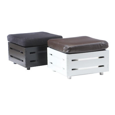 Black and White Planked Ottomans with Vinyl Cushions