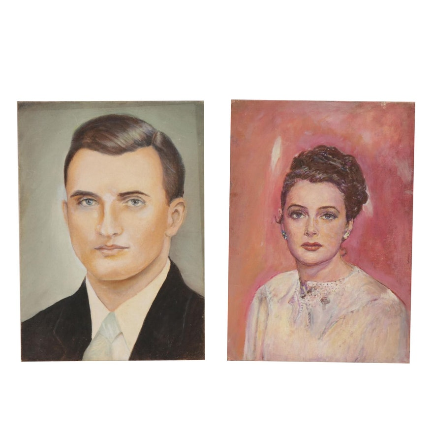 Portrait Oil Paintings, Mid-20th Century