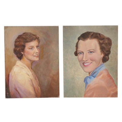 Portrait Oil Paintings, Mid-20th Century