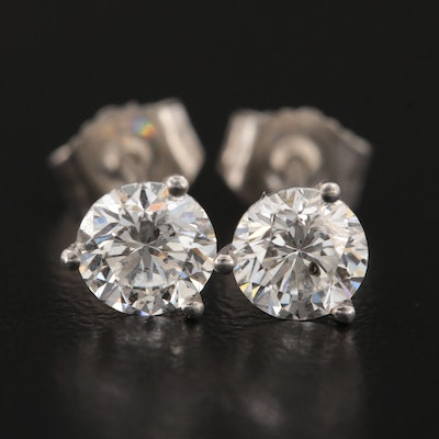 14K White Gold 0.98 CTW Diamond Martini Set Stud Earrings