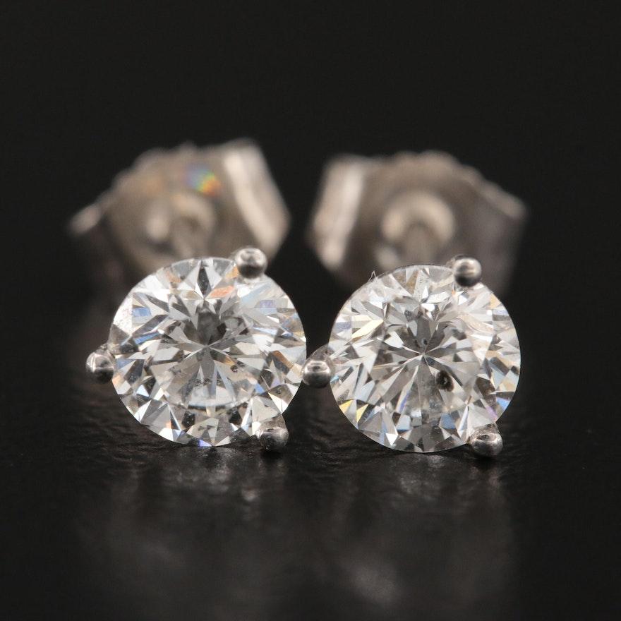 14K White Gold 0.98 CTW Diamond Martini Set Stud Earrings