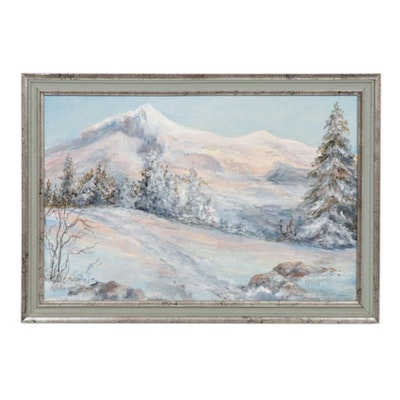 Winter Mountain Landscape Oil Painting