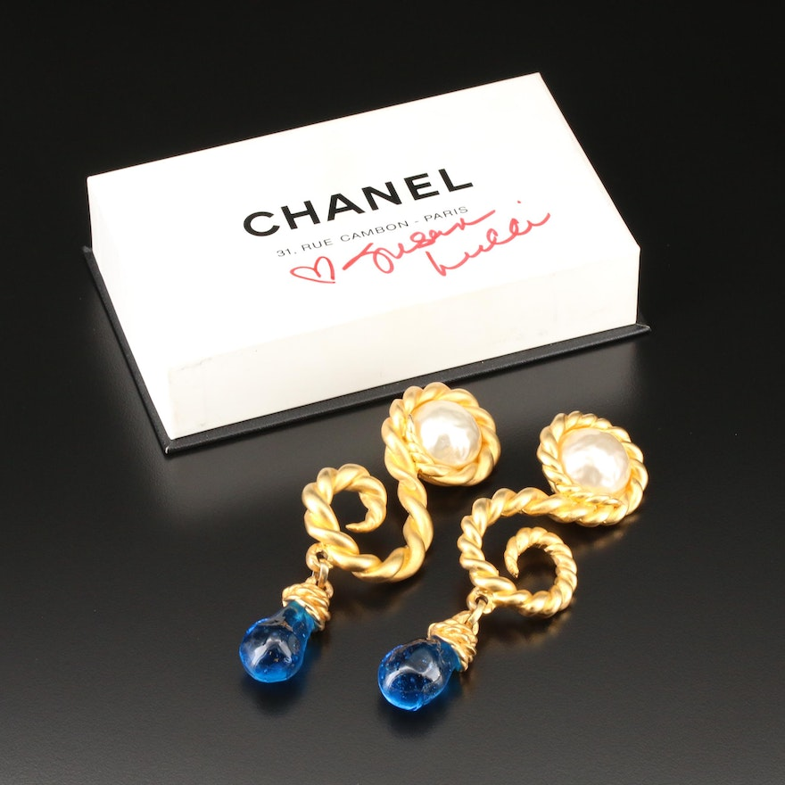 Vintage Chanel Blue Gripoix Glass Drop Earrings with Susan Lucci Signed Box