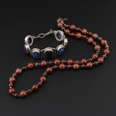 Sterling Silver Jasper and Sillimanite Bracelet and Necklace