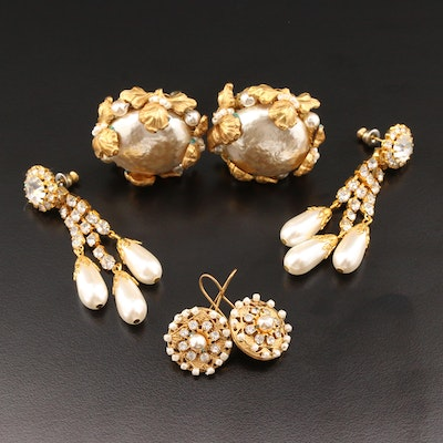 Button, Drop and Chandelier Earrings Featuring Miriam Haskell